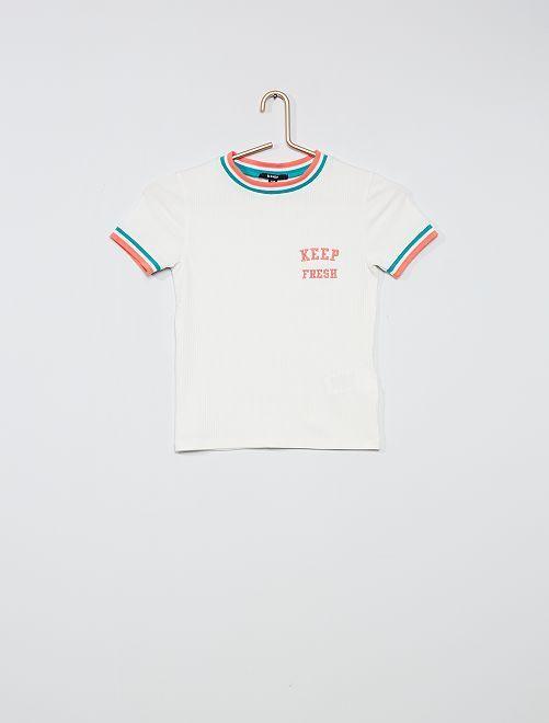 Camiseta de punto de canalé                             blanco nieve