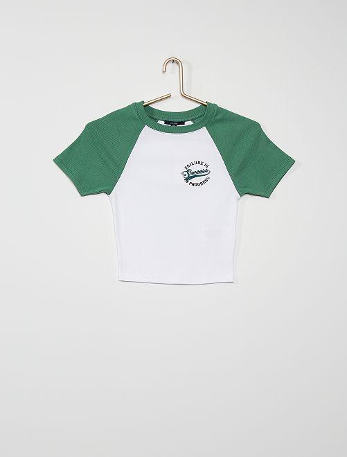 Camiseta de punto de canalé                             BLANCO