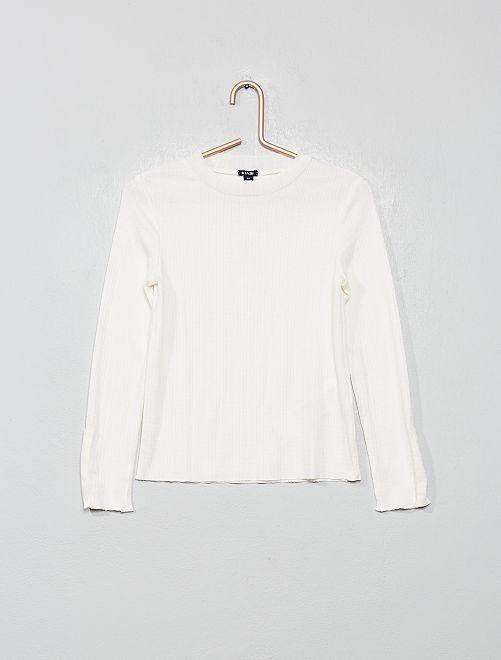 Camiseta de punto de canalé                     crudo