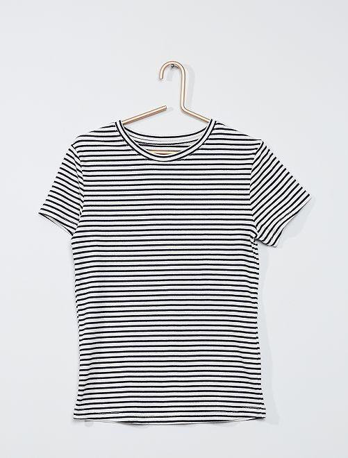 Camiseta de punto de canalé 'eco-concepción'                                                                             AZUL