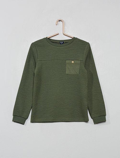 Camiseta de punto de canalé flocado                                         verde tomillo