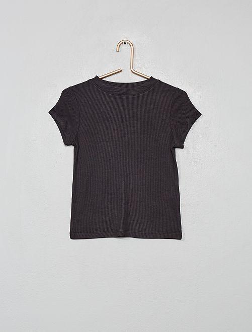 Camiseta de punto de canalé                                                     gris oscuro