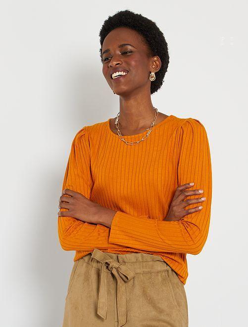 Camiseta de punto de canalé                                                     marrón