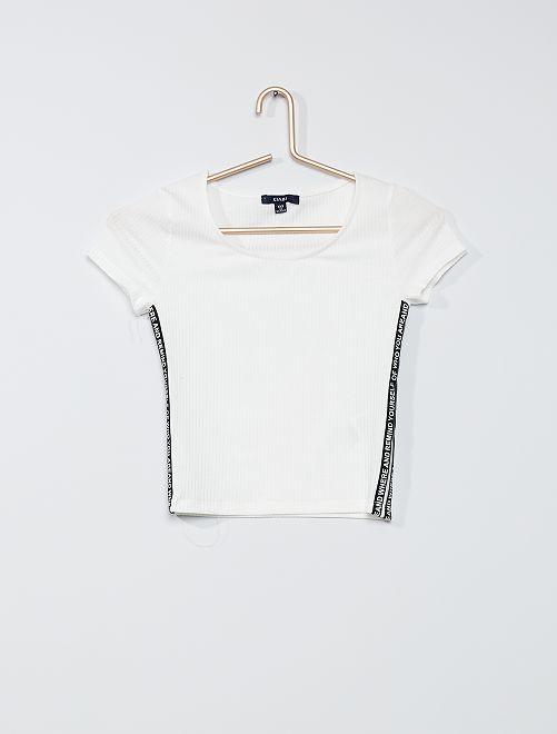 Camiseta de punto de canalé                             negro