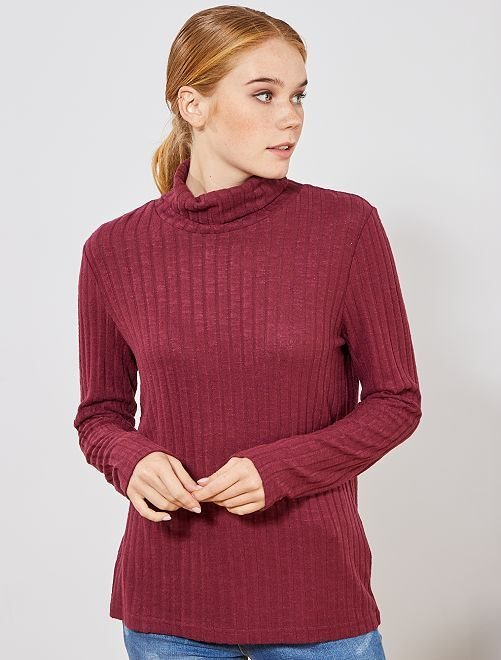 Camiseta de punto de canalé suave                                                                 rojo burdeos