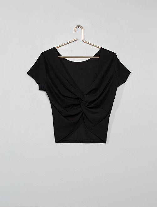 Camiseta de punto de crepé anudada en la parte trasera                             negro Joven niña