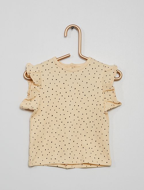 Camiseta de punto de crepé de lunares                             BLANCO