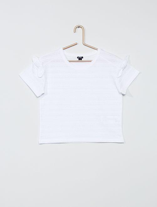 Camiseta de punto de fantasía                     blanco