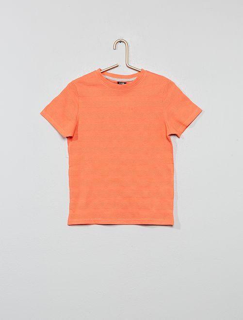 Camiseta de punto de fantasía                                                                 naranja coral Chico
