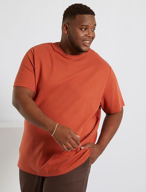 Camiseta de punto de fantasía                                         rojo teja