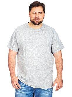 Camisetas talla 4xl - Camiseta de punto de jersey con cuello redondo - Tallas grandes