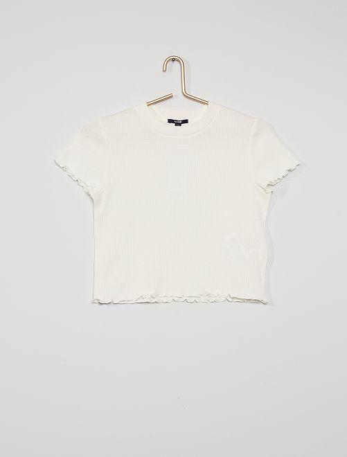 Camiseta de punto de panal de abeja                                                                             blanco nieve