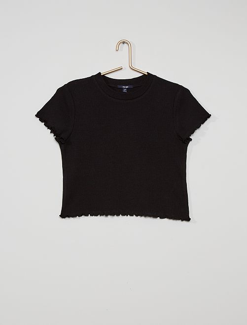 Camiseta de punto de panal de abeja                                                                             negro