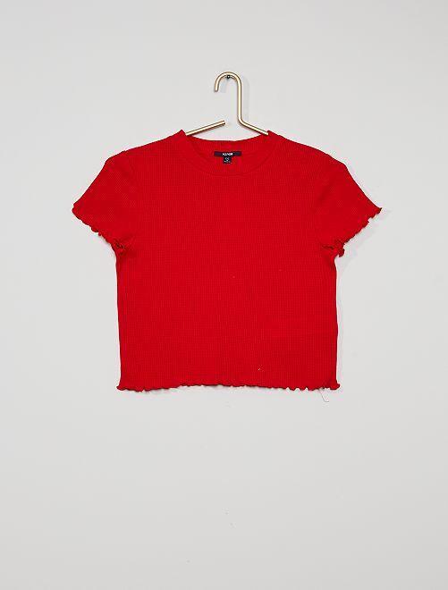 Camiseta de punto de panal de abeja                                                                             ROJO