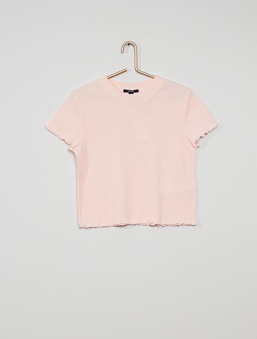 Camiseta de punto de panal de abeja                                                                             rosa claro