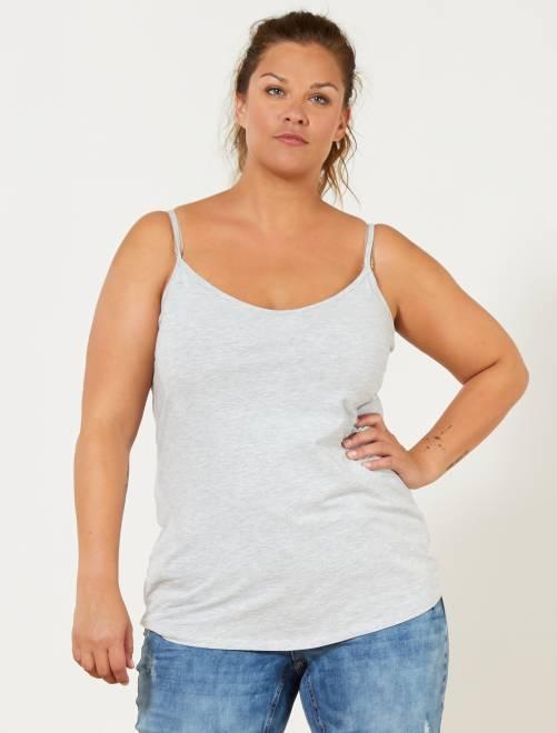 Camiseta de punto de tirantes finos                                                     GRIS