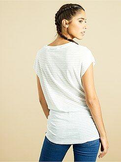 Mujer Camiseta de punto devoré a rayas