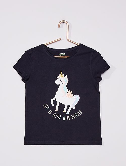 Camiseta de punto estampada                                                                                         AZUL
