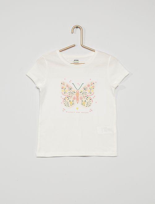 Camiseta de punto estampada                                                                                                     BLANCO