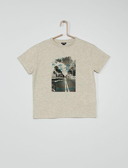 Camiseta de punto estampada                                                                                         GRIS