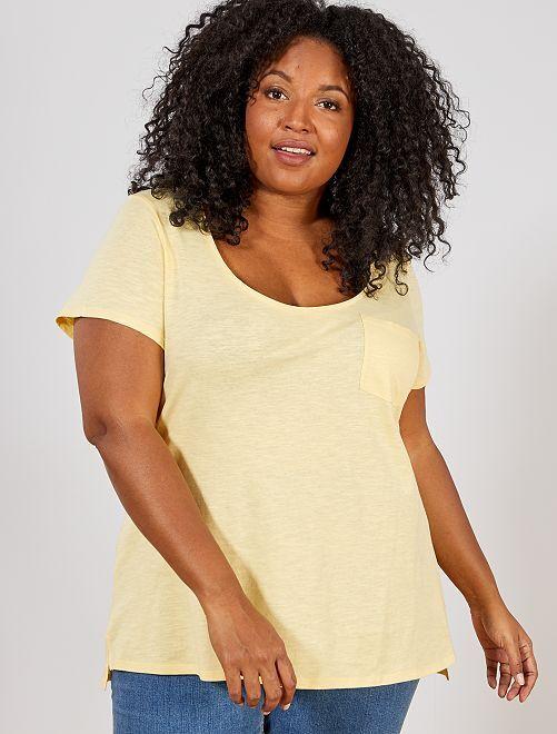 Camiseta de punto flameado                                                     amarillo oro Tallas grandes mujer