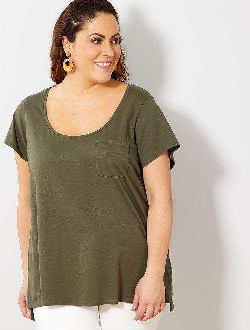 Camiseta de punto flameado                                                                             KAKI Tallas grandes mujer