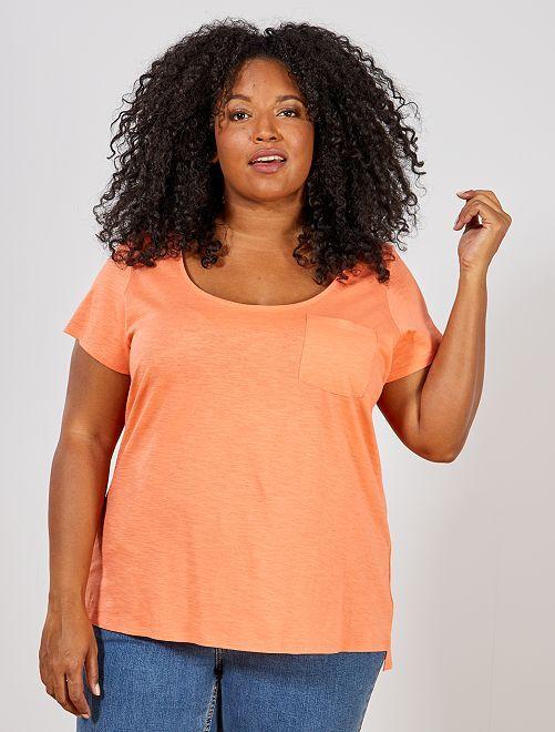 Camiseta de punto flameado                                                     naranja coral Tallas grandes mujer