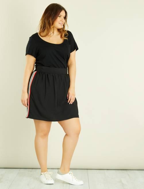 Camiseta de punto flameado                                                                     negro Tallas grandes mujer