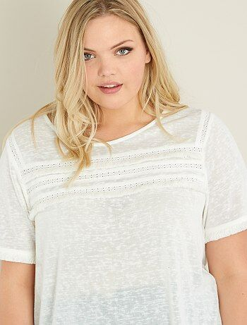 Camiseta de punto flameado y macramé - Kiabi
