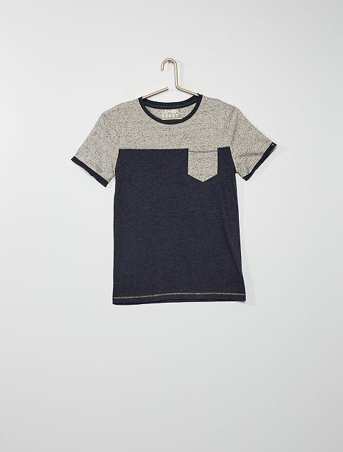 Camiseta de punto moteado con bolsillo                                         azul