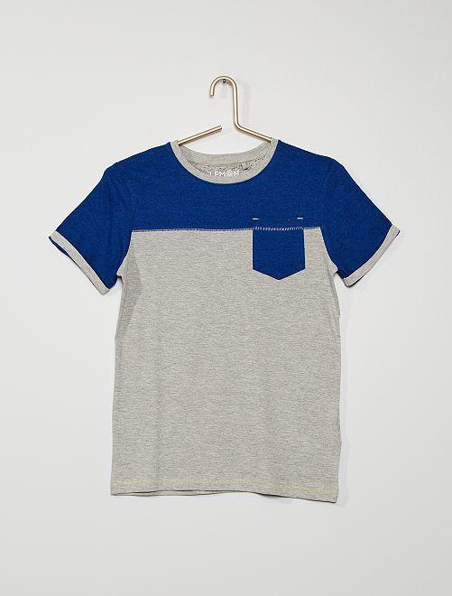 Camiseta de punto moteado con bolsillo                                         gris