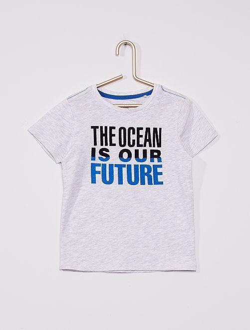 Camiseta de punto 'Ocean is our future'                             gris