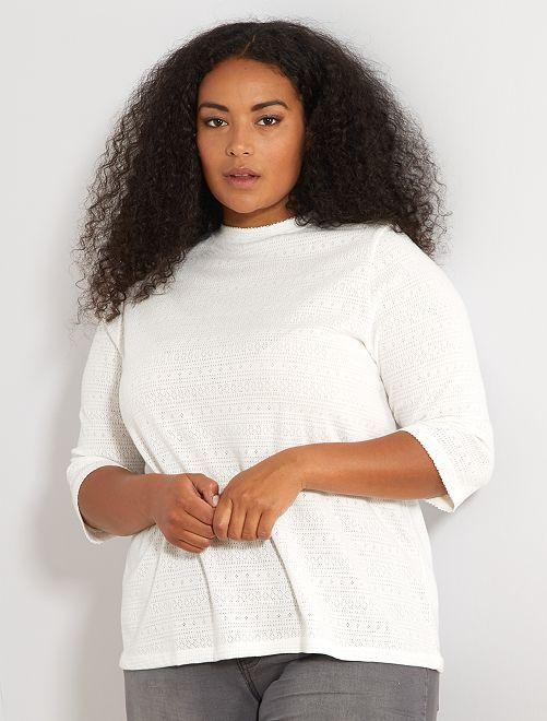 Camiseta de punto pointelle                             blanco nieve Tallas grandes mujer