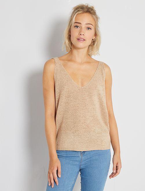 Camiseta de punto tricotado sin mangas                                 BEIGE