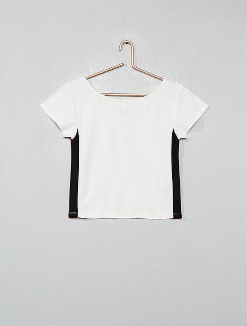 Camiseta de punto vaporoso de canalé con bandas                             crudo/rojo Joven niña