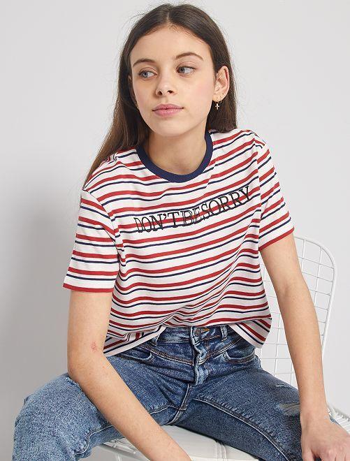 Camiseta de rayas bordada                             BLANCO