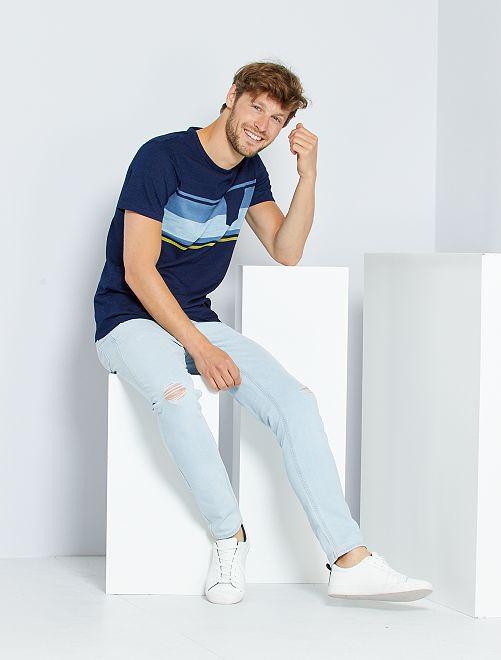 Camiseta de rayas con bolsillo en el pecho                                                                 AZUL