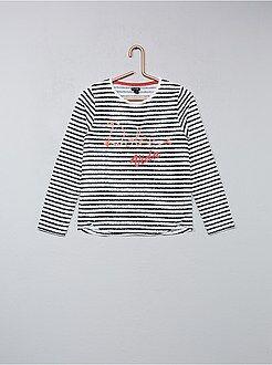 Niña 3-12 años - Camiseta de rayas con bordado de cordoncillo - Kiabi