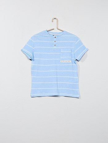 Niño 3-12 años - Camiseta de rayas con cuello panadero - Kiabi