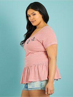 Tallas grandes mujer Camiseta de rayas con faldón