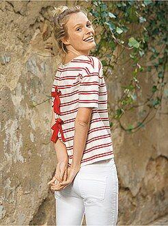 Mujer - Camiseta de rayas con lazo en la parte trasera - Kiabi