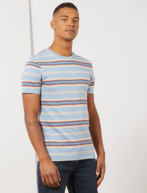 Camiseta de rayas de colores                             AZUL Hombre
