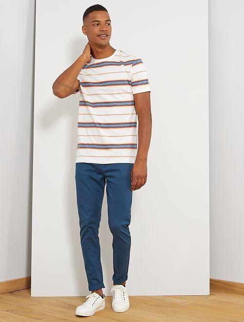 Camiseta de rayas de colores                                         BLANCO Hombre