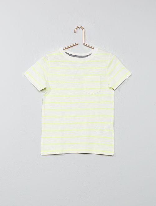 Camiseta de rayas de punto flameado                                                     BLANCO Chico