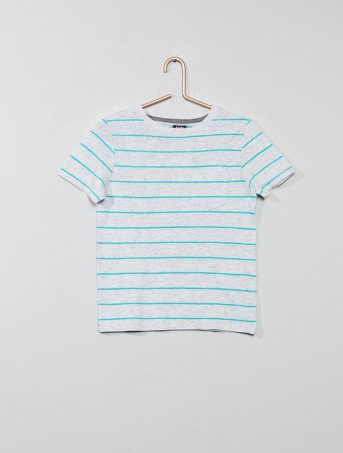 Camiseta de rayas de punto flameado                                                     GRIS Chico