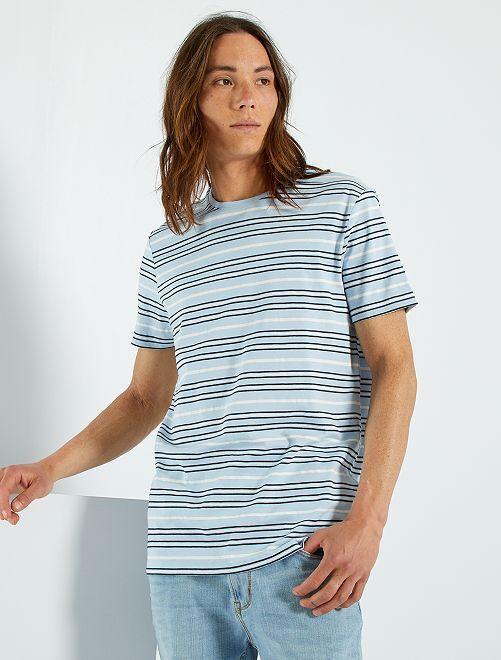 Camiseta de rayas eco-concepción                                                                                         AZUL