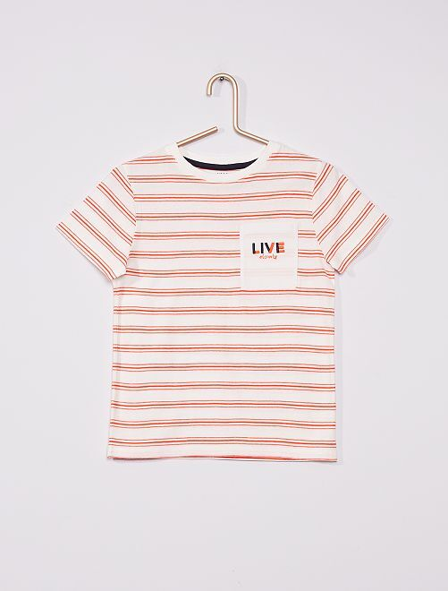 Camiseta de rayas eco-concepción                                                     BEIGE