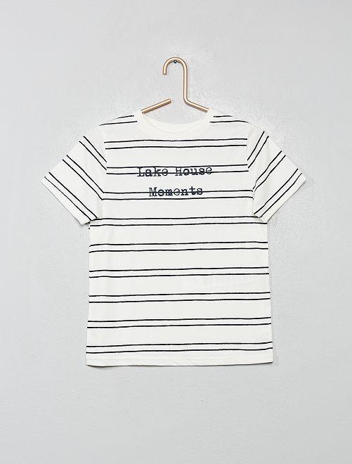 Camiseta de rayas eco-concepción                                         BLANCO
