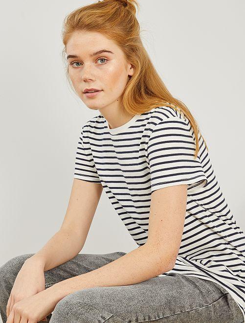 Camiseta de rayas eco-concepción                                                                                                                                                                                                                                                                             BLANCO rayas