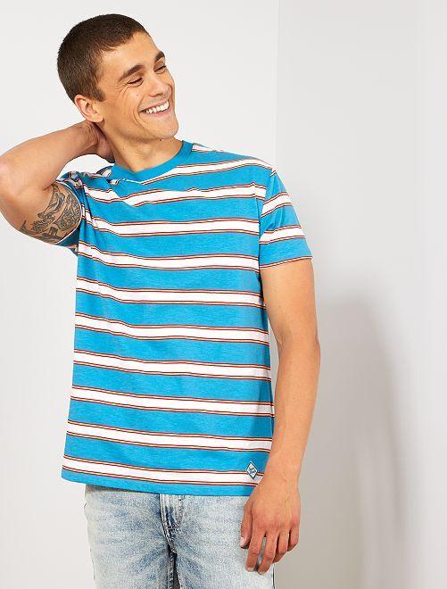 Camiseta de rayas estilo vintage                                                     AZUL Hombre